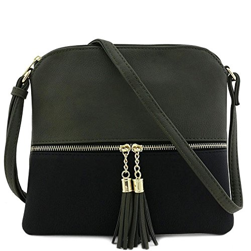 Lightweight Medium Crossbody Bag with Tassel (Dark Grey/Black)
