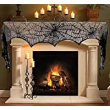 Enthur Halloween Decoration Black Lace Spiderweb Fireplace Mantle Scarf Cobweb Cover Festive Party Supplies (18 x 96 inch)
