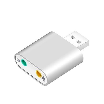 Easy-Link Tarjeta de Sonido USB Adaptador Audio con 3,5mm Jack y Micrófono para Windows Mac PC Altavoces Auriculares, Aluminum