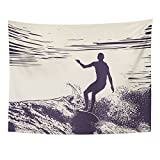 TOMPOP Tapestry Blue Surf Silhouette Surfer and Big Wave Engraving Style Surfboard Retro Home Decor Wall Hanging for Living Room Bedroom Dorm 60x80 Inches