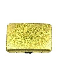 Metal Cigarettes Case Holder Double Side Cigarette Storage for 16 Cigarettes - Gold