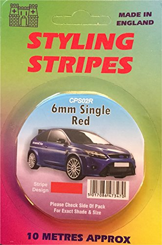 Styling Coachline Red Pin Stripe Single 6mm 10 Metres Long Red Tape