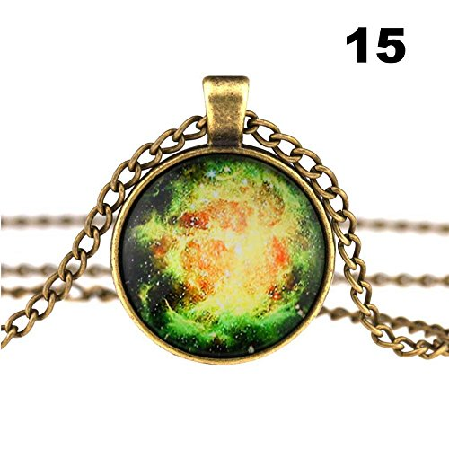 Fodimex - Vintage Look Galaxy Star Glass Cameo Cabochon Demo Universe Pendant Necklace [ 15 ]