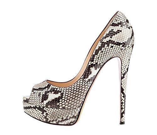 Kolnoo - Zapatos con tacón Mujer Snakeskin