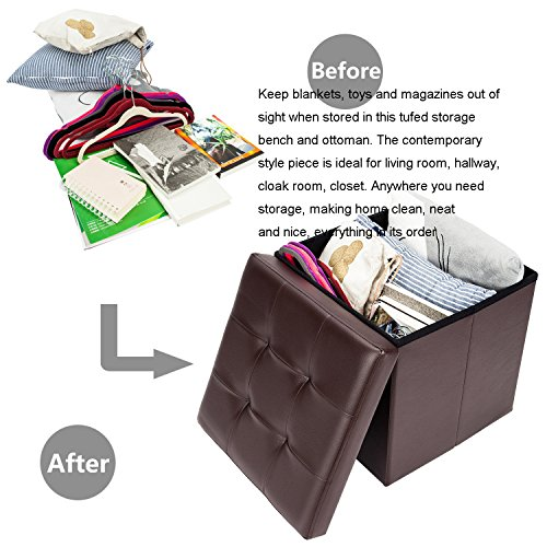 Bonnlo 2 PCS 15 Faux Leather Folding Storage Ottoman Cube Bench Foot Rest Seat Coffee Table Brown