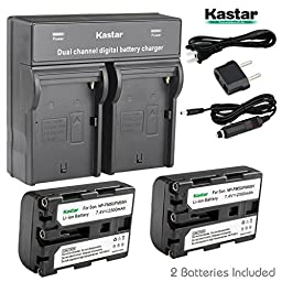 Kastar Dual Smart Fast Charger & 2 x Battery for NP-FM50 NP-FM55H NP-QM51 and DSC-F707 DSC-F717 DSC-F828 DSC-S30 DSC-S50 DSC-S70 DSC-S75 DSC-S85 DSLR-A100 MVC-CD200 MVC-CD250 MVC-CD400 MVC-CD500