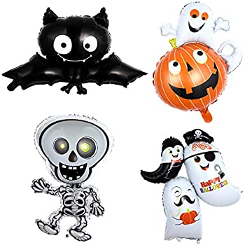 SUKRAGRAHA Aluminum Foil Auto-sealing Reusable Vampire Bats Home Halloween Party Bar Decoration Kid Toy Balloon Black 2 pc