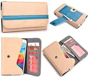 Tan Teal Mens | Womans Wallet Phone Duo Fits LG Optimus L5 II Dual E455 +NuVur KeyChain ESMLGPBD