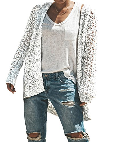 FISACE Womens Hollow Out Open Front Cardigans Long Sleeve Knitted Sweater Jumper White