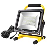 Tools & Hardware : Ustellar 4500LM 50W LED Work Light (400W Equivalent), 2 Brightness Levels, Waterproof Flood Lights, 16ft/5M Wire with Plug, Stand Working Lights for Workshop, Construction Site, 6000K Daylight White
