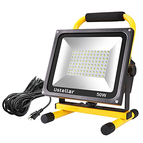 Ustellar 4500LM 50W LED Work Light (400W Equivalent), 2 Brightness Levels, Waterproof Flood Lights, 16ft/5M Wire with Plug, Stand Working Lights for Workshop, Construction Site, 6000K Daylight White by Ustellar
