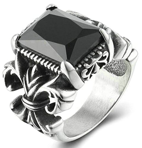 Epinki Stainless Steel Ring, Mens Wedding Band Promise Rings Hollow Flower Vintage Black Crystal Size 11