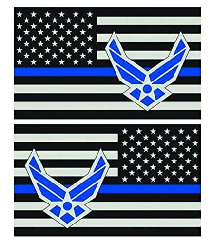 (OTA Sticker Americans Flag Subdued Thin Blue LINE (Left-Right) Police Rescue Military Soldier Rock Metal Heavy Decal Laptop CAR Window Door Wall Motorcycle Helmet Luggage Back Truck Van SUV Symbol)