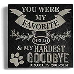 a Personalized Memorial Pet Headstone Customized - Favorite Helo Hardest Goodbye - 6 x 6 Granite