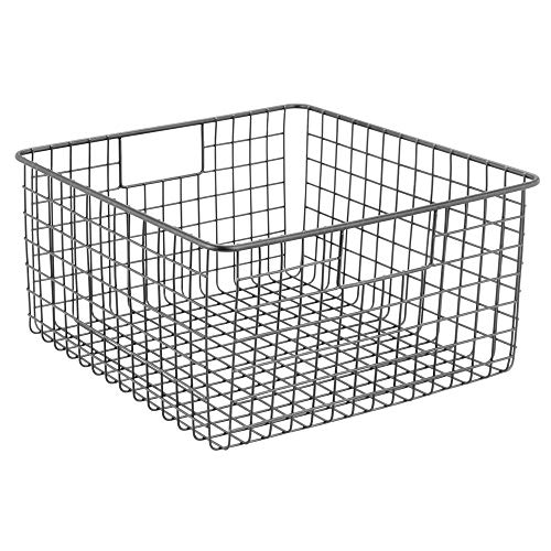 "mDesign Farmhouse Decor Metal Wire Food Storage Organizer, Bin Basket with Handles for Kitchen Cabinets, Pantry, Bathroom, Laundry Room, Closets, Garage - 12"" x 12"" x 6"" - Graphite Gray"