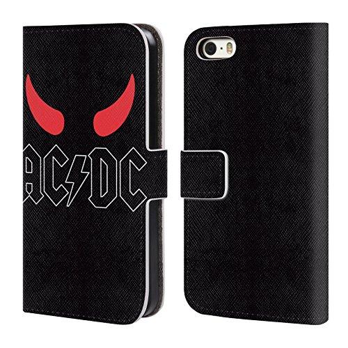 Officiel AC/DC ACDC Klaxons Logo Étui Coque De Livre En Cuir Pour Apple iPhone 5 / 5s / SE