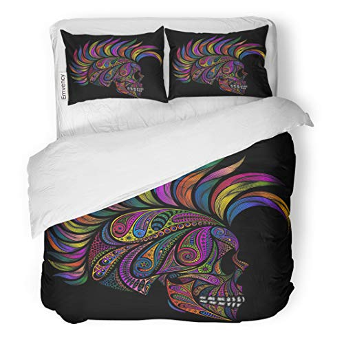Semtomn Decor Duvet Cover Set Full/Queen Size Rock Punk Skull Mohawk Color Patterns and The Hair 3 Piece Brushed Microfiber Fabric Print Bedding Set -