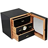 Black Gloss Piano Finish Cedar Wood Cigar Cabinet Humidor 3 Drawers fit COHIBA