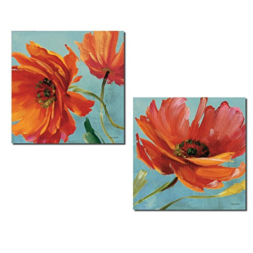 Gango Home Décor Gorgeous Red and Orange Blooming Poppy Flowers by Lisa Audit; Floral Decor; Two 12x12in Poster Print
