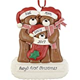 "Baby Bear's First Christmas Personalized Ornament - Calliope Designs - Handcrafted for Family of 3 - Customize with Parents or Grandparents, and Child's Names and Year - 4.5"" tall"