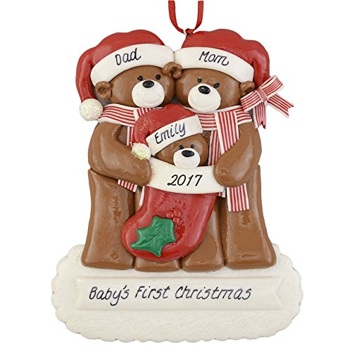Grandparents Personalized Ornaments - Baby Bear's First Christmas Personalized Ornament - Calliope Designs - Handcrafted for Family of 3 - Customize with Parents or Grandparents, and Child's Names and Year - 4.5