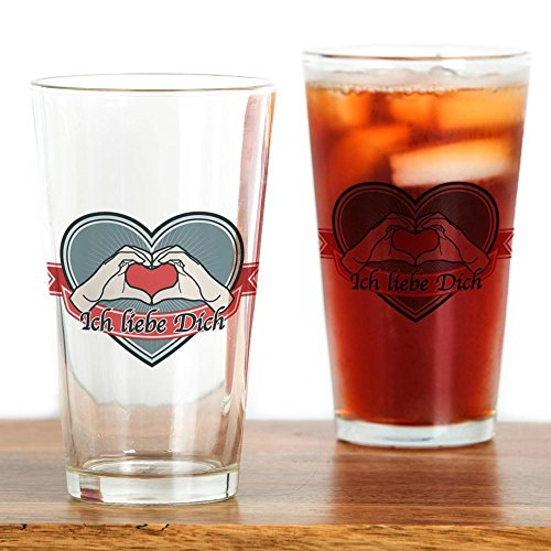 CafePress - blue heart-Ich liebe Dich? Drinking Glass - Pint Glass, 16 oz. Drinking Glass