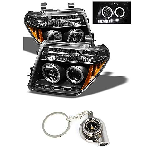 Nissan Frontier/Nissan Pathfinder Projector Headlights LED Halo LED Black Housing With Clear Lens+ Free Gift Key Chain Spinning Turbo - Frontier Nissan Halo Headlights