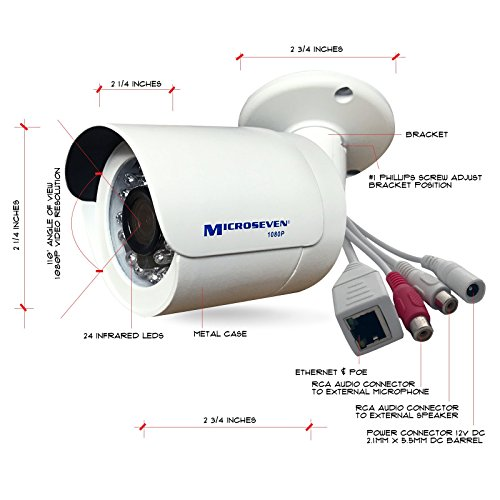Microseven HD 1080P 1/2.5″ CMOS P2P Onvif Wireless Outdoor IP Camera Build-in Microphone, Night Vision, Free M7 Cloud and Free Live Streaming on microseven.tv