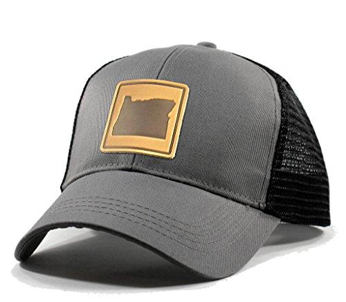 Homeland Tees Men's Oregon Leather Patch Trucker Hat - Grey