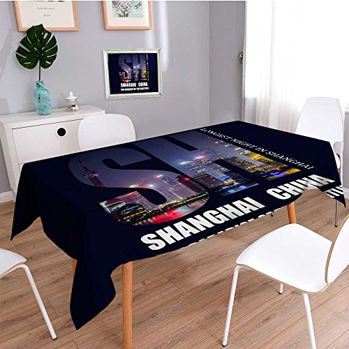 Auraisehome Spillproof Fabric TableclothCity Impression wear-resistant, washable, anti-liquid spill ()