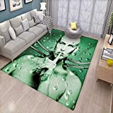 cleveland browns robot - Futuristic Kids Carpet Playmat Rug Robot Girl with Cables in a Glass Underwater Design Print Door Mats for Inside Non Slip Backing 6'x8' Hunter Green and Pistachio Green