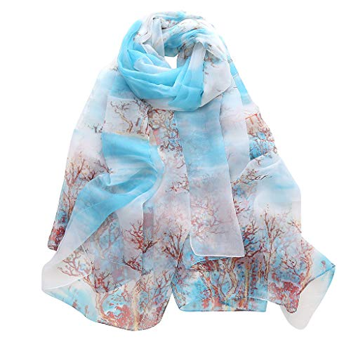 - Mnyycxen Fashion Women Scarf, Soft Lightweight Lotus Printing Long Soft Wrap Scarf Ladies Shawl Scarves (Light Blue)