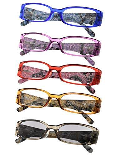 Spring Hinges Tiger Patterned Temples Reading Glasses for Women 5-Pack Includes Sunshine Readers ()