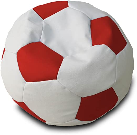 Puff Pelota Polipiel XL Ø90cm (Blanco y Rojo): Amazon.es: Hogar