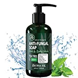 Antifungal Soap with Tea Tree Oil Antifungal Soap with Tea Tree Oil & Active Ingredients Help Treat & Wash Away Athletes Foot, Nail Fungus, Jock Itch, Ringworm, Body Odor & Acne. Antibacterial Defense Against Fungal Irritations - 8oz