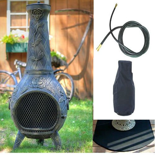 Qbc Bundled Blue Rooster Rose Chiminea With Natural Gas