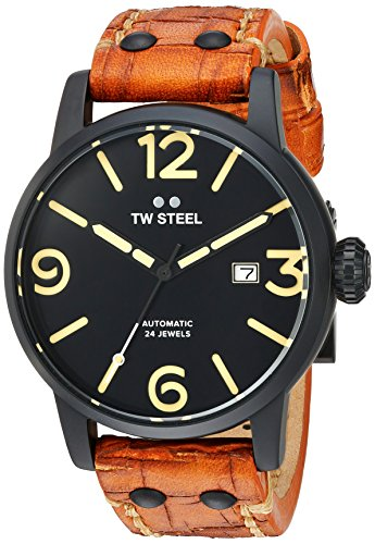 TW Steel Men's 'Maverick' Quartz Stainless and Leather Casual Watch, Color:Brown (Model: MS35)
