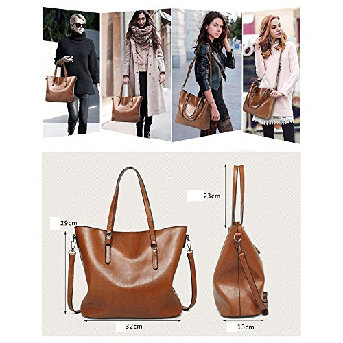 Quality Fashion Tote Brown Pu For Messenger Leather Bags Simple High Women Handbags Shoulder WFnqCUg