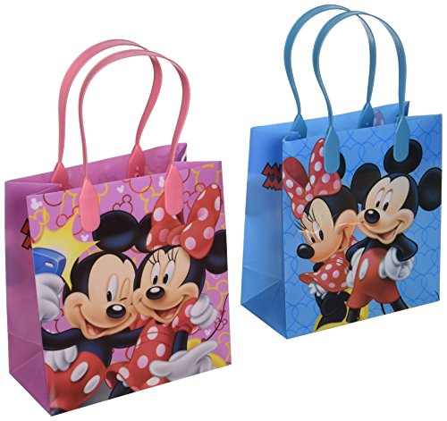 Disney Mickey and Minnie Mouse Character 12 Premium Quality Party Favor Reusable Goodie Small Gift Bags]()