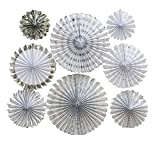 LOLOAJOY 8PCS/Set Home Decoration Hanging Paper Fans Decorative Fans Silver