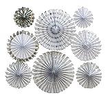 LOLOAJOY 8PCS/Set Home Decoration Hanging Paper Fans Decorative Fans Silver