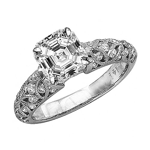 0.98 Ctw 14K White Gold GIA Certified Asscher Cut Vintage Style Channel Set Filigree Diamond Engagement Ring, 0.5 Ct G-H SI1-SI2 Center