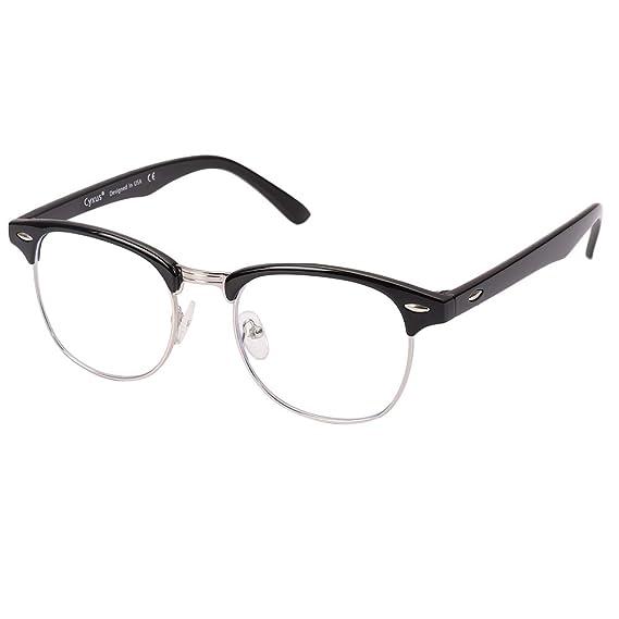f35d5e734e52ff Cyxus lumière bleue lunettes demi-trame  Transparent Lentille  anti fatigue  oculaire, grande