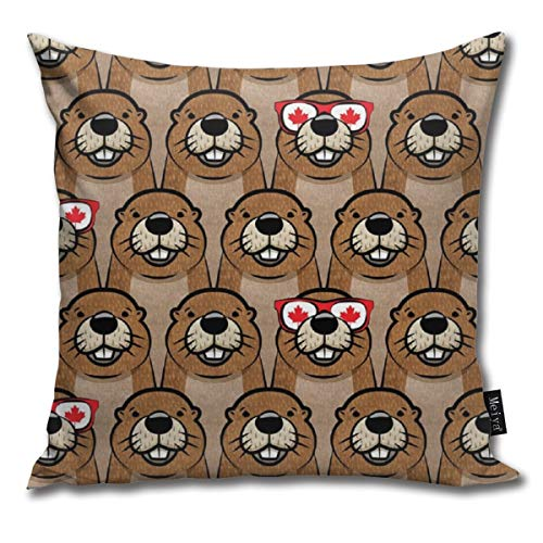 DIYAB One Cool Beaver Canada Day Pillowcases Home Decorative Super Soft Throw Cushion Cover for Sofa 20 x 20 inch
