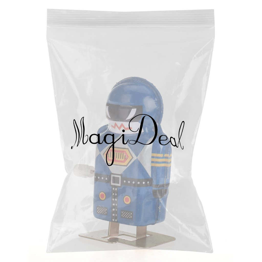 MagiDeal Wind Up Mini Robot Magic Boy Model Toy Collectible Gift Blue