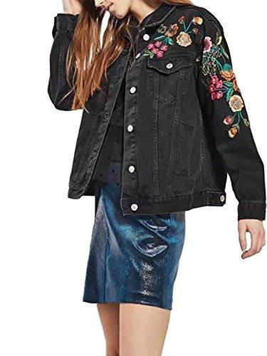 (PERSUN Womens Fashion Black Floral Embroidery Denim)