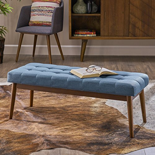 Great Deal Furniture 303897 Floral Mid Century Tufted Blue Fabric Ottoman, Walnut
