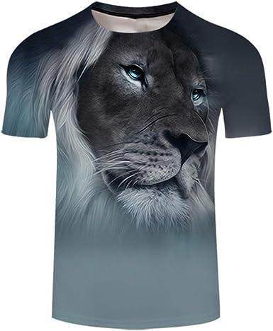 Camiseta de Manga Corta para Hombre con Estampado de león en ...