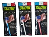 Glow Stick Patriotic Flag Bundle of 3: One Red, One White, and One Blue Glow Stick with American Flag Topper
