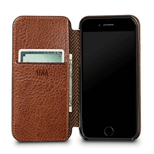 - Ultra Thin WalletBook Leather Case for iPhone 8/7 (Cognac)